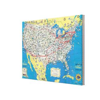 Mapa del sistema de American Airlines Impresión En Lienzo Estirada