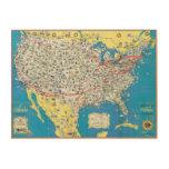Mapa del sistema de American Airlines Impresión En Madera