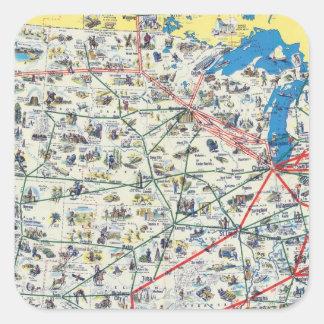 Mapa del sistema de American Airlines Pegatina Cuadrada
