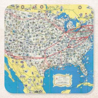 Mapa del sistema de American Airlines Posavasos Desechable Cuadrado