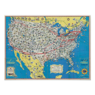 Mapa del sistema de American Airlines Póster