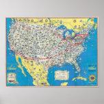 Mapa del sistema de American Airlines Posters