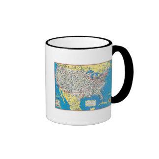 Mapa del sistema de American Airlines Tazas De Café