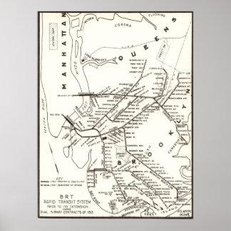 Mapa del sistema de transporte de Brooklyn NY del Poster
