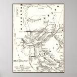 Mapa del sistema de transporte de Brooklyn NY del Póster
