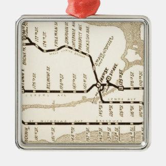 Mapa del subterráneo de Nueva York del vintage Adorno Navideño Cuadrado De Metal