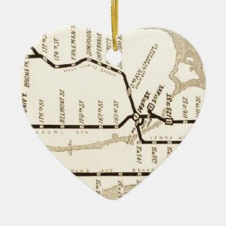 Mapa del subterráneo de Nueva York del vintage Adorno Navideño De Cerámica En Forma De Corazón