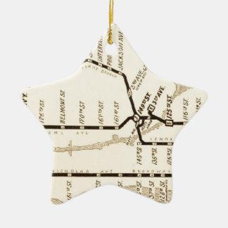 Mapa del subterráneo de Nueva York del vintage Adorno Navideño De Cerámica En Forma De Estrella