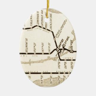 Mapa del subterráneo de Nueva York del vintage Adorno Navideño Ovalado De Cerámica
