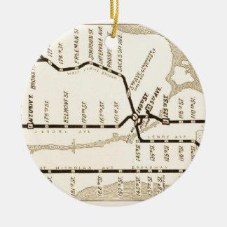 Mapa del subterráneo de Nueva York del vintage Adorno Navideño Redondo De Cerámica