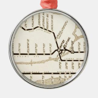 Mapa del subterráneo de Nueva York del vintage Adorno Navideño Redondo De Metal