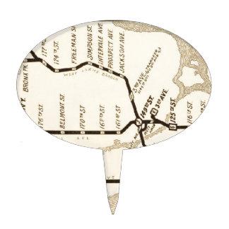 Mapa del subterráneo de Nueva York del vintage Figura De Tarta