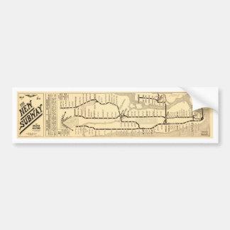 Mapa del subterráneo de Nueva York del vintage Etiqueta De Parachoque