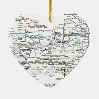 Mapa del subterráneo de Seul Adorno Navideño De Cerámica En Forma De Corazón