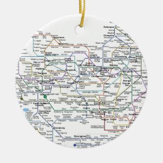 Mapa del subterráneo de Seul Adorno Navideño Redondo De Cerámica