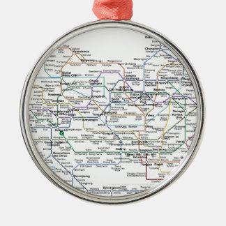 Mapa del subterráneo de Seul Adorno Navideño Redondo De Metal