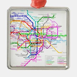 Mapa del subterráneo de Tokio Japón Adorno Navideño Cuadrado De Metal