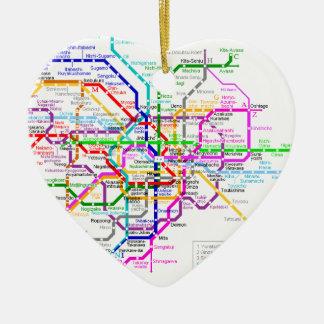 Mapa del subterráneo de Tokio Japón Adorno Navideño De Cerámica En Forma De Corazón