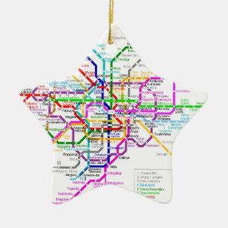 Mapa del subterráneo de Tokio Japón Adorno Navideño De Cerámica En Forma De Estrella