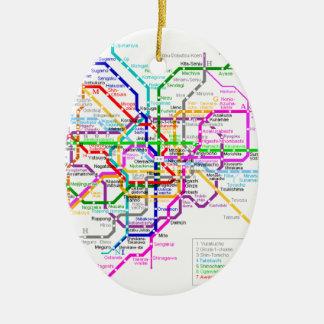 Mapa del subterráneo de Tokio Japón Adorno Navideño Ovalado De Cerámica