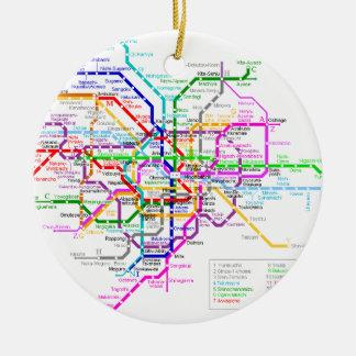 Mapa del subterráneo de Tokio Japón Adorno Navideño Redondo De Cerámica