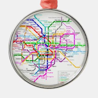 Mapa del subterráneo de Tokio Japón Adorno Navideño Redondo De Metal