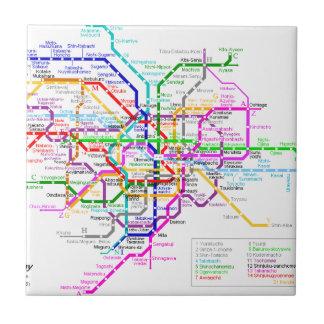 Mapa del subterráneo de Tokio Japón Azulejo Cuadrado Pequeño