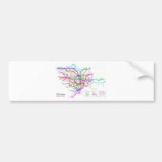 Mapa del subterráneo de Tokio Japón Etiqueta De Parachoque