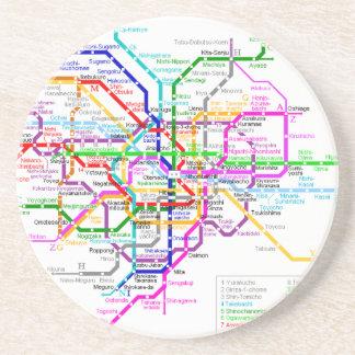 Mapa del subterráneo de Tokio Japón Posavaso Para Bebida