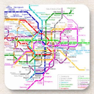 Mapa del subterráneo de Tokio Japón Posavasos De Bebida