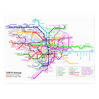 Mapa del subterráneo de Tokio Japón Postal