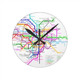 Mapa del subterráneo de Tokio Japón Reloj Redondo Mediano