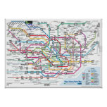 Mapa del subterráneo de Tokio Posters