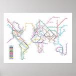 Mapa del subterráneo del metro del mundo póster