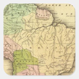 Mapa del sur de AmericaOlney Pegatina Cuadrada