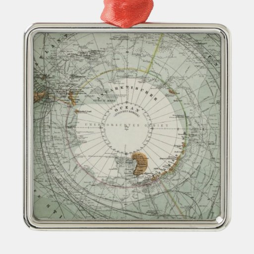 Mapa del sur de la región polar adorno de navidad