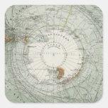Mapa del sur de la región polar calcomanía cuadrada personalizada