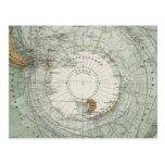 Mapa del sur de la región polar postales