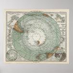 Mapa del sur de la región polar poster