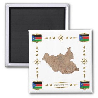 Mapa del sur de Sudán + Imán de las banderas
