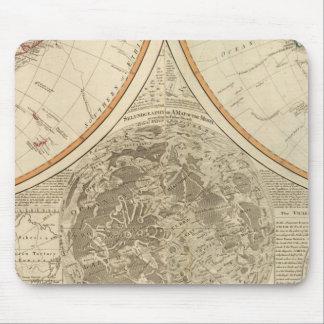 Mapa del sur del hemisferio del mundo tapete de raton