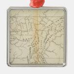 Mapa del Tennessee Adorno Cuadrado Plateado