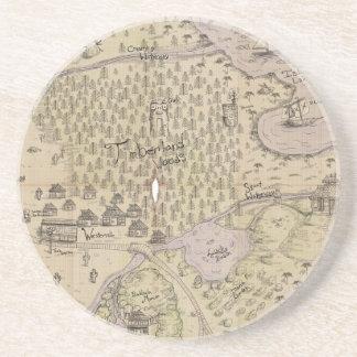 Mapa del terreno áspero posavasos manualidades