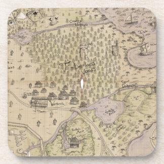 Mapa del terreno áspero posavasos de bebidas