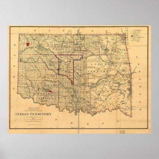 Mapa del territorio de 1887 indios por Geo U Mayo Póster