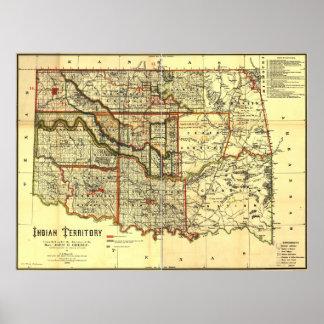 Mapa del territorio de 1889 indios póster