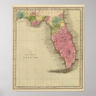 Mapa del territorio de la Florida 1842 Póster