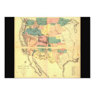 """Mapa del territorio de los Estados Unidos (1858) Invitación 5"""" X 7"""""""