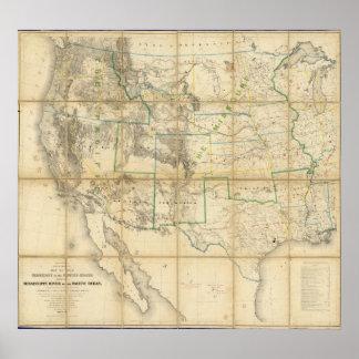 Mapa del territorio de los Estados Unidos 2 Póster