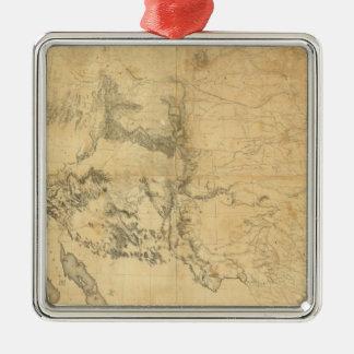 Mapa del territorio de los Estados Unidos Adorno Cuadrado Plateado